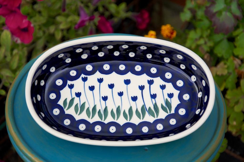 polish pottery flower spot oval dish