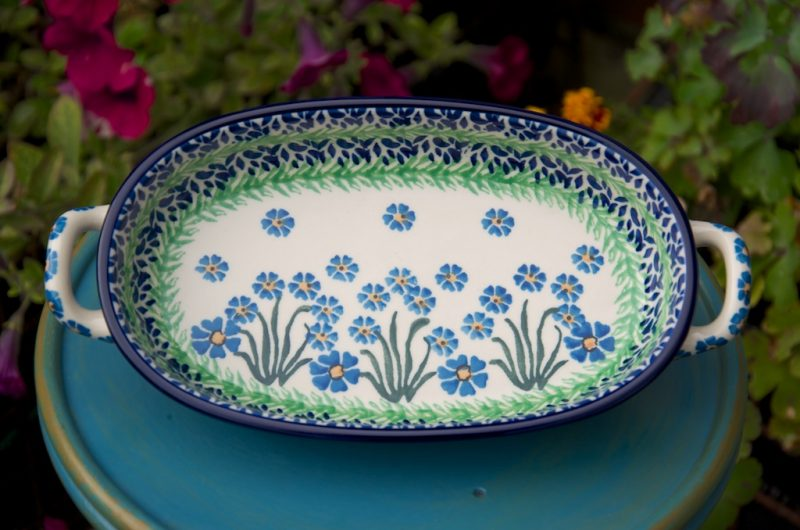 Polish Pottery Forget me Not Oval Dish With handles