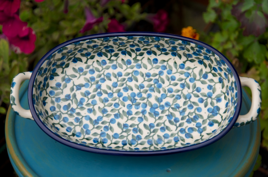 polish pottery Blue Berry Leaf Oval Dish