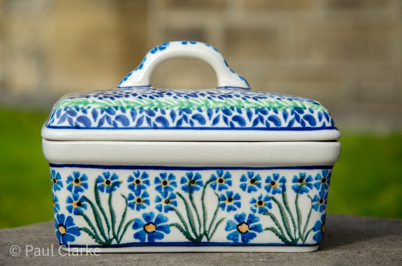 Forget Me Not Polish Pottery Butter Box from Polkadot Lane UK