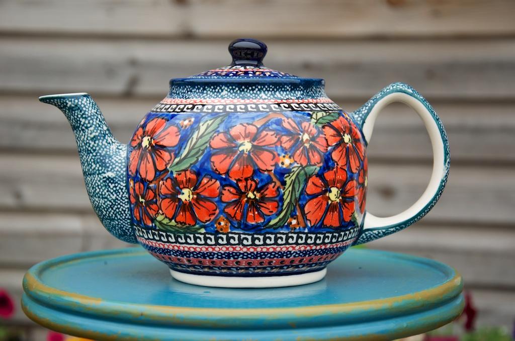 Polish Pottery Poppy Teapot