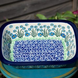 Polish Pottery Forget Me Not Small Oven Dish Forget Me Not