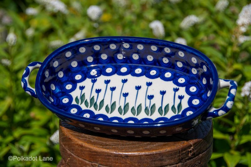 Small Serving Dish with Handles Flower Spots Pattern by Ceramika Artystyczna