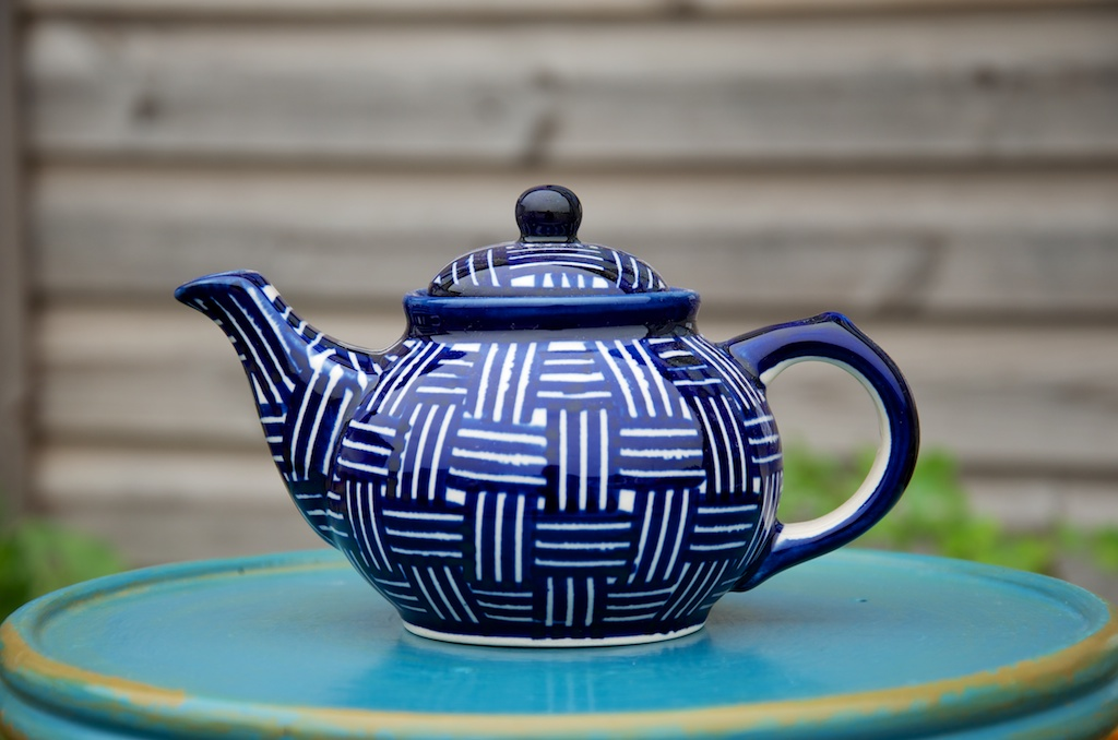 Polish Pottery Weave Pattern Small Teapot