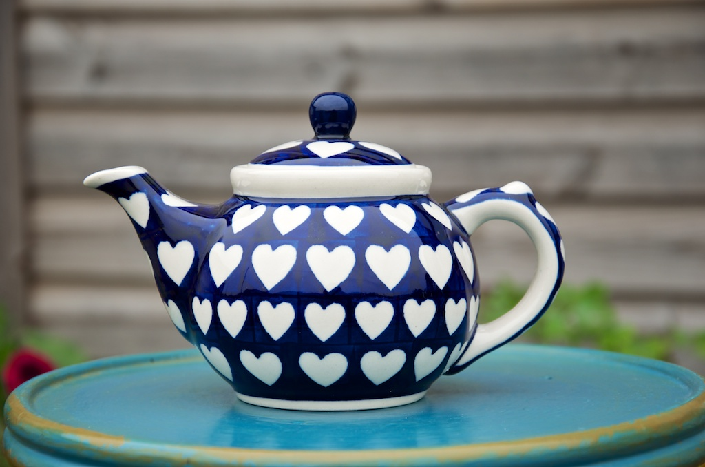 Polish Pottery White Heart on Blue Small Teapot