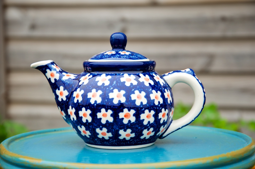 Polish Pottery Orange Flower Spot Small Teapot