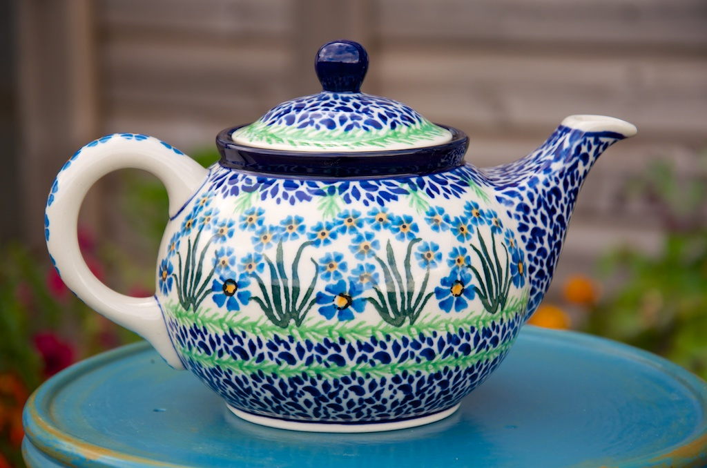 Polish Pottery Forget Me Not Medium Teapot