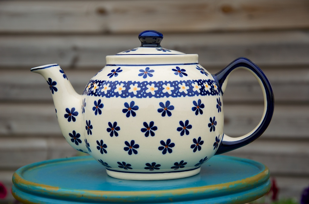 Polish Pottery Orange and Blue Flower Teapot