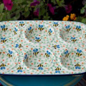 Polish Pottery Bee Pattern Yorkshire Pudding Dish