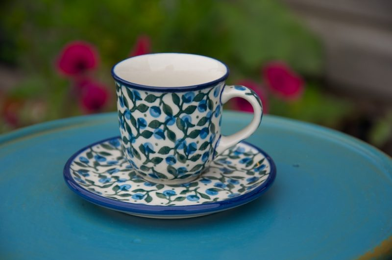Polish Pottery Blue Berry Leaf Espresso Cup and Saucer