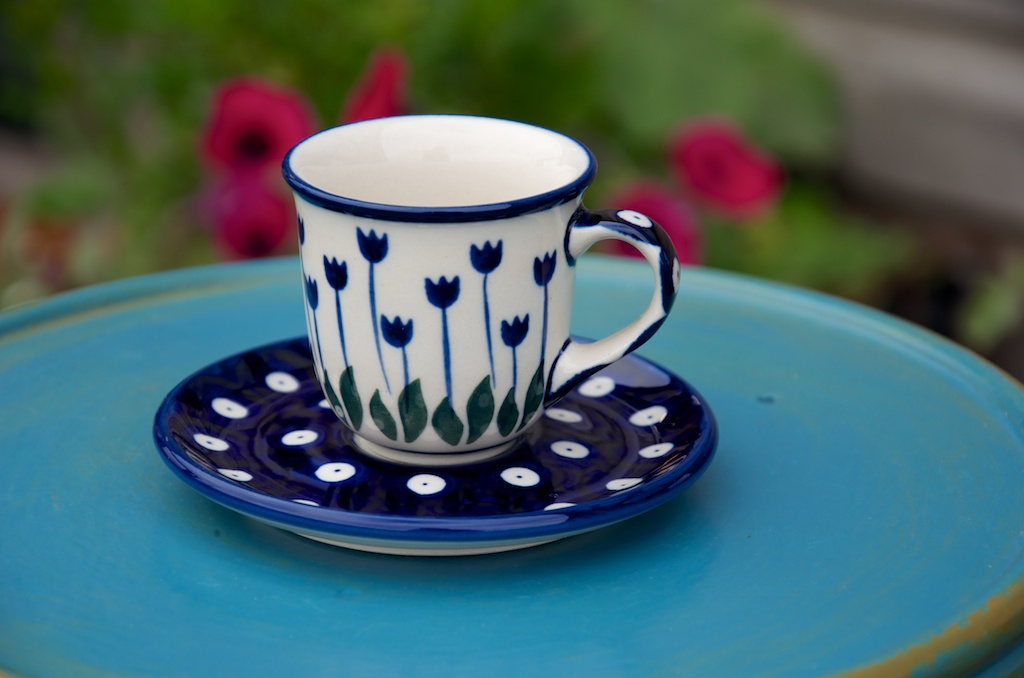 Polish Pottery Flower Spot Espresso Cup and Saucer