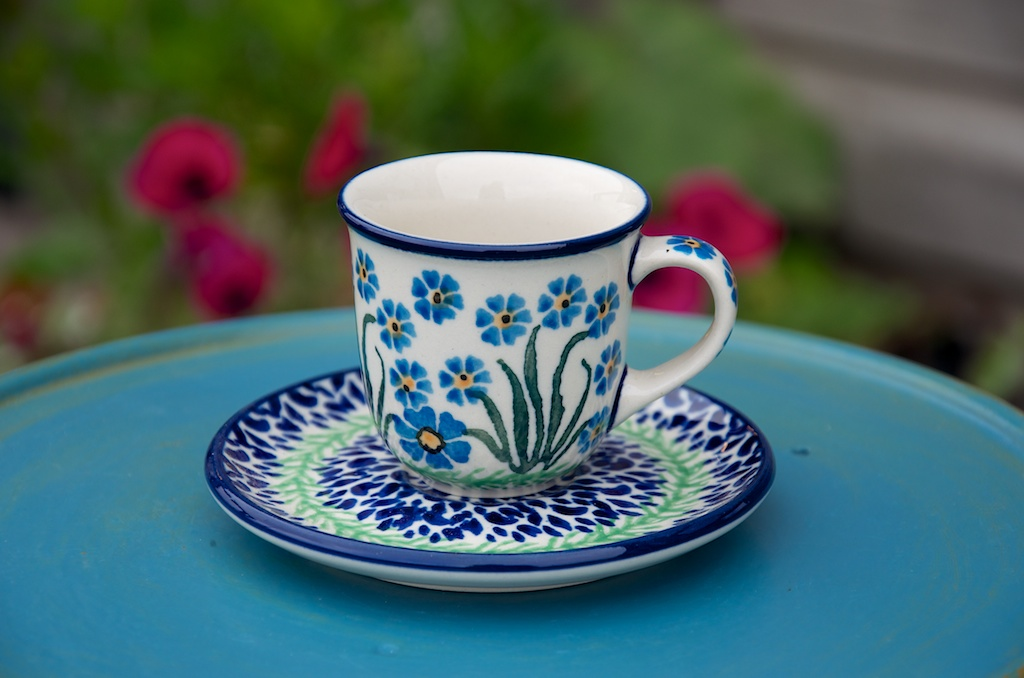 Polish Pottery Forget Me Not Espresso Cup and Saucer