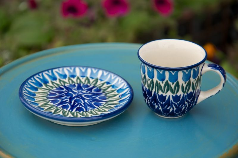 Polish Pottery Tulip Field Espresso Cup and Saucer