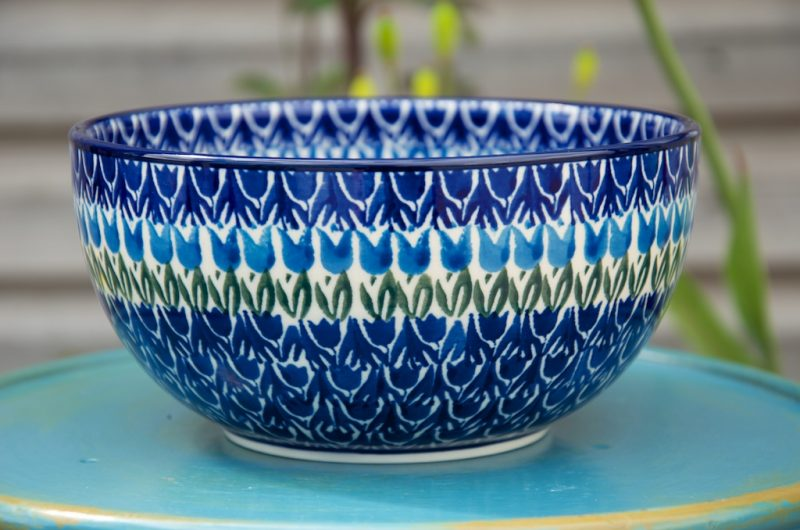 Polish Pottery Large Cereal Bowl Tulip Field