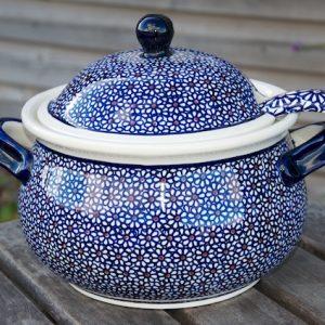Polish Pottery Dark Daisy Tureen with Ladle