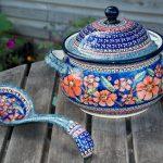 Polish Pottery Poppy Pattern Tureen and Ladles