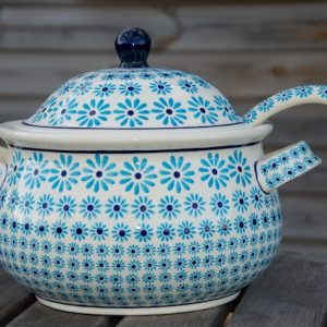 Polish Pottery Turquoise Daisy Tureen with Ladle