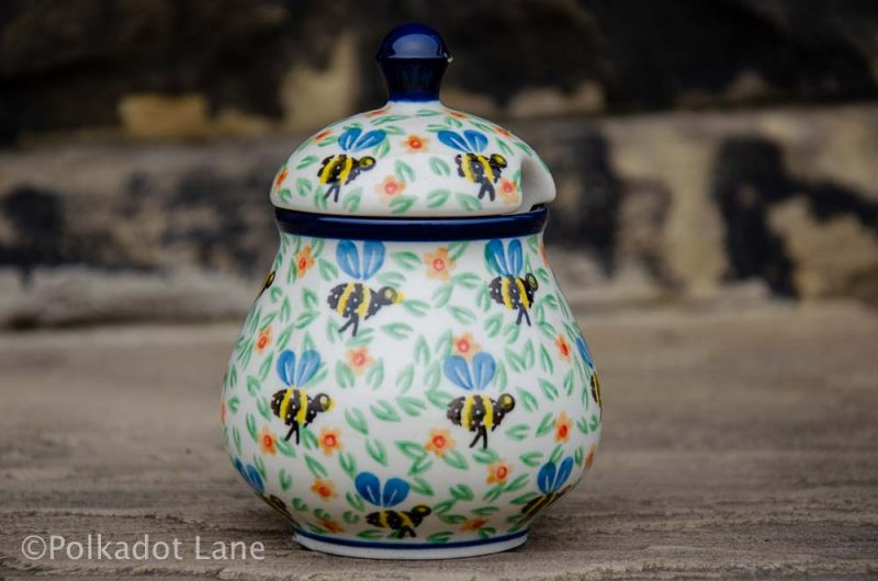 Bee Sugar Bowl Ceramika Artytstyczna Polish Pottery from Polkadot Lane