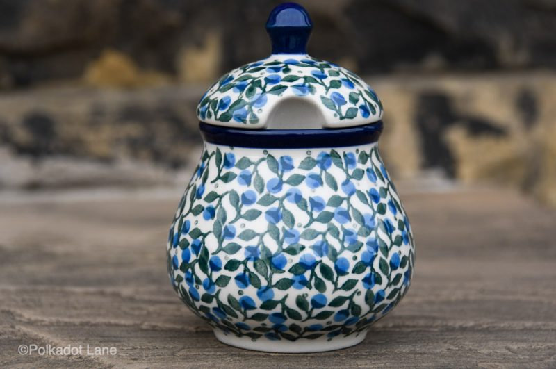 Blue Berry Leaf Sugar Bowl from Polkadot lane Polish Pottery