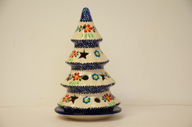 Polish Pottery Red and Blue Flower Christmas Tree