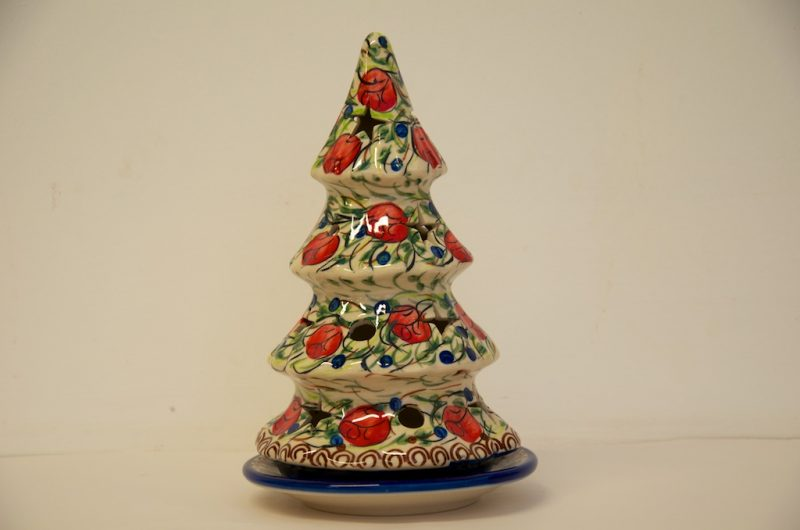 Polish Pottery Red Berry Christmas Tree