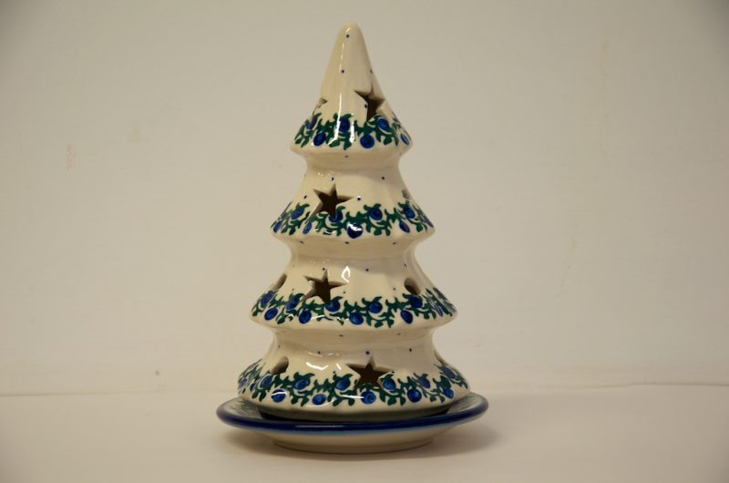 Polish Pottery Blue Berries Christmas Tree by Ceramika Millena