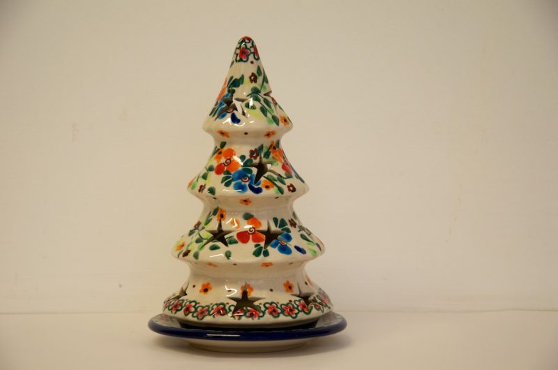 Polish Pottery Red Flowers Christmas Tree