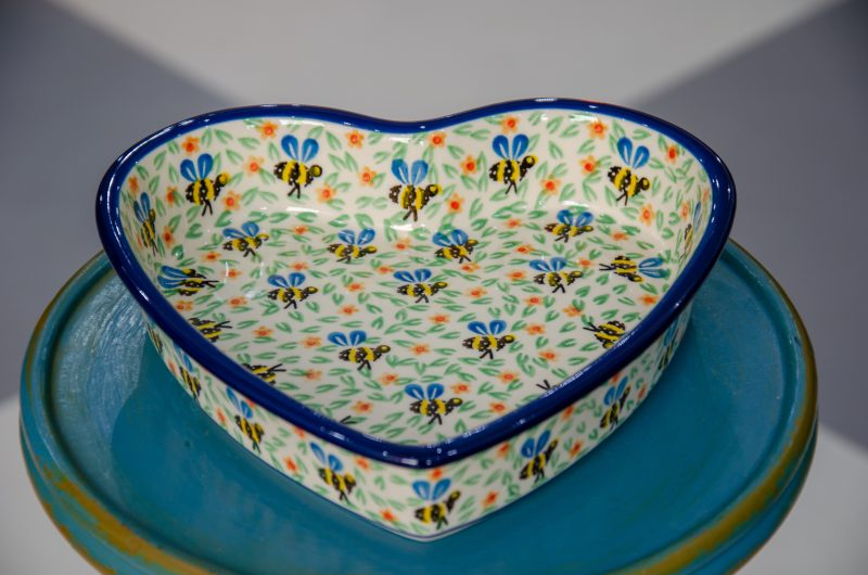 Polish Pottery Bee Pattern Shallow Heart Dish