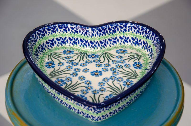 Polish Stoneware Pottery Forget Me Not Shallow Heart Dish