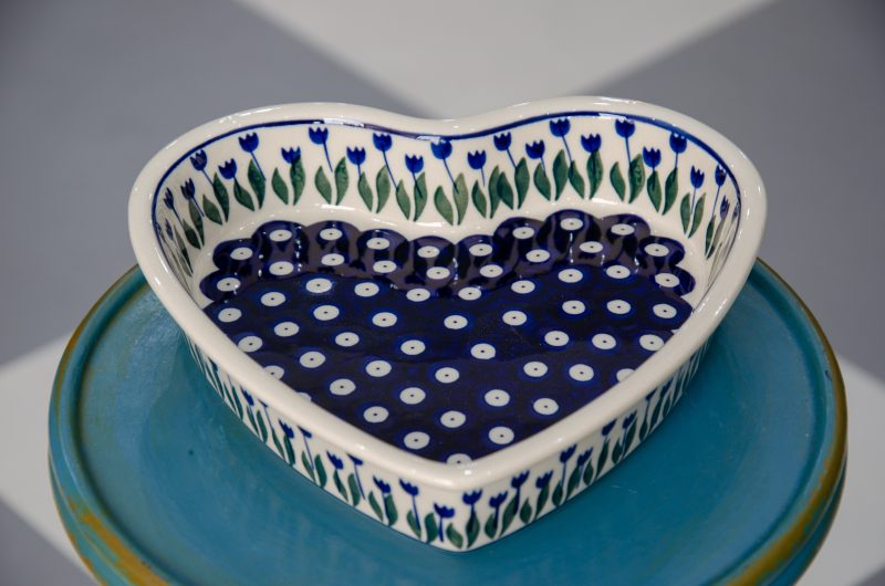 Polish Pottery Flower Spot Shallow Heart Dish by Ceramika Manufaktura