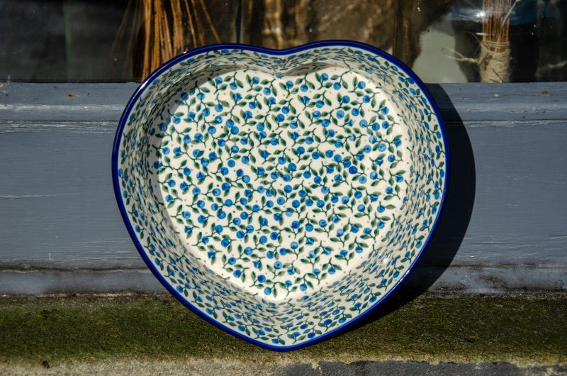 Polish Pottery Large Heart Dish Blueberry Leaf