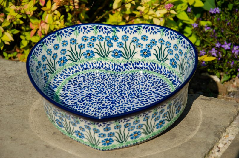 Forget Me Not Large Heart Dish Polish Pottery From Polkadot Lane UK