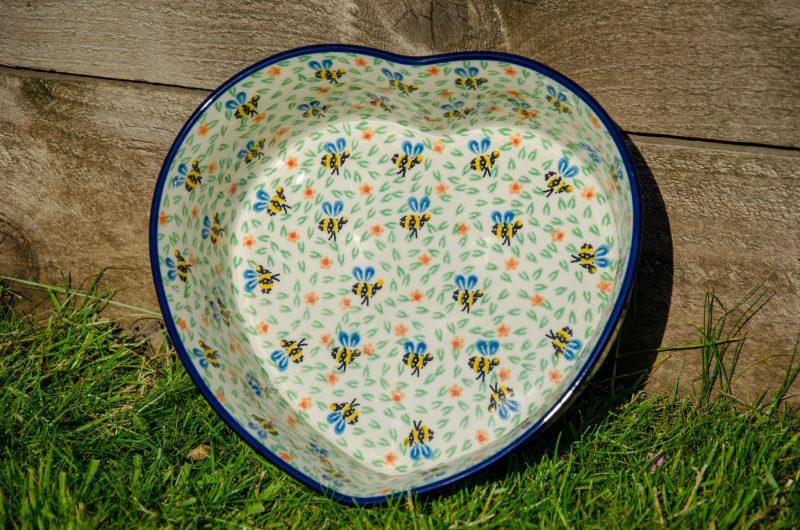 Polish Pottery Bee pattern Heart Shaped Dish from Polkadot Lane UK