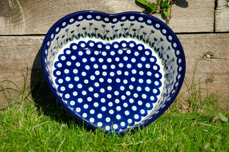 Flower Spot Heart Dish by Ceramika Artystyczna Polish Pottery from Polkadot Lane UK