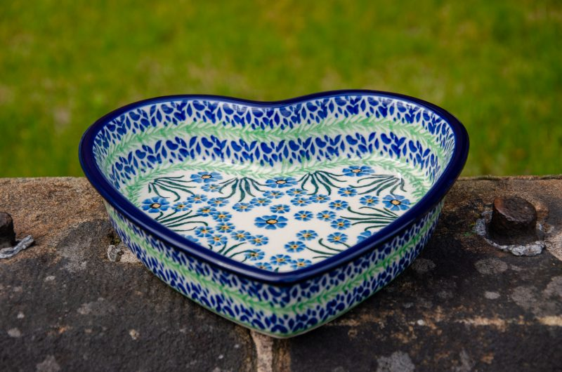 Forget Me Not Shallow Heart Dish from Polkadot Lane UK