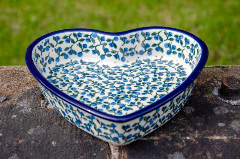 Ceramika Artystyczna Polish Pottery Shallow Heart Dish