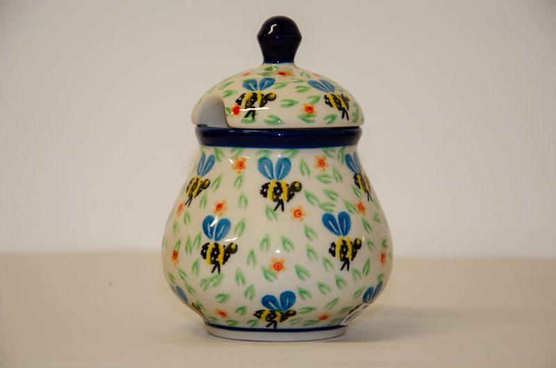 Polish Pottery Bee Pattern Sugar Bowl by Ceramika Artystyczna
