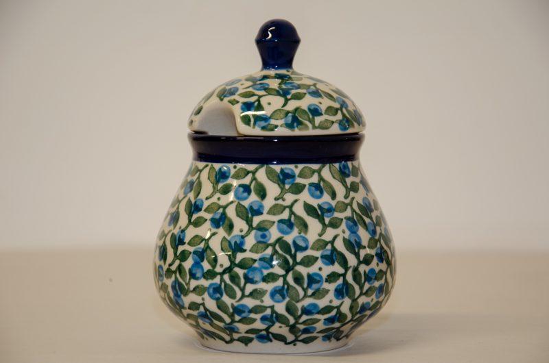 Polish Pottery Blue Berry Leaf SugarBowl by Ceramika Artystyczna
