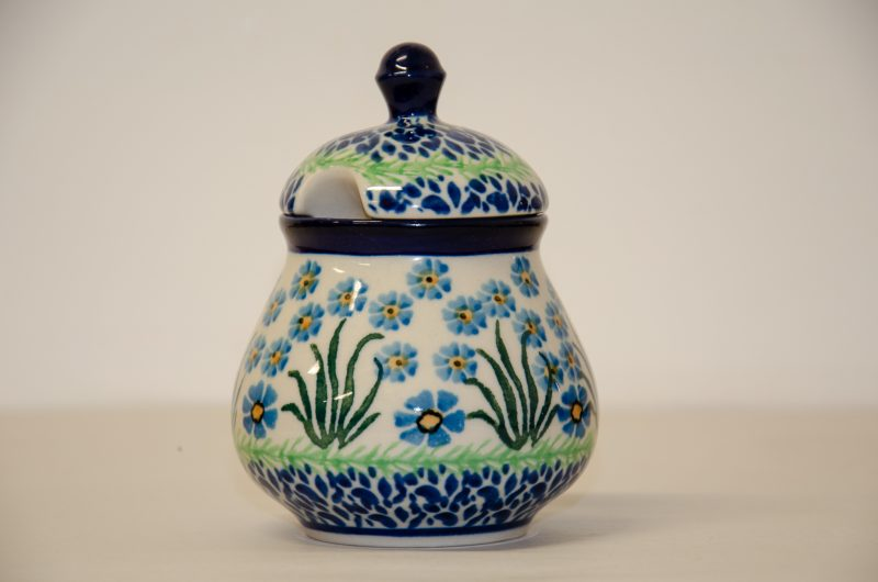 Polish Pottery Sugar Bowl in Forget Me Not Design by Ceramika Artyczysta