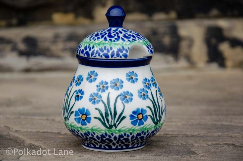 Forget Me Not Polish Pottery Sugar Bowl from Polkadot Lane