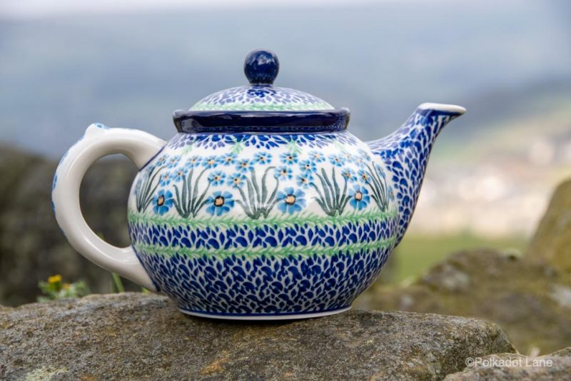 Forget Me Not Teapot for Four from Polkadot Lane Polish Pottery