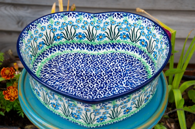 Polish Pottery Forget Me Not Large Heart Shaped Dish