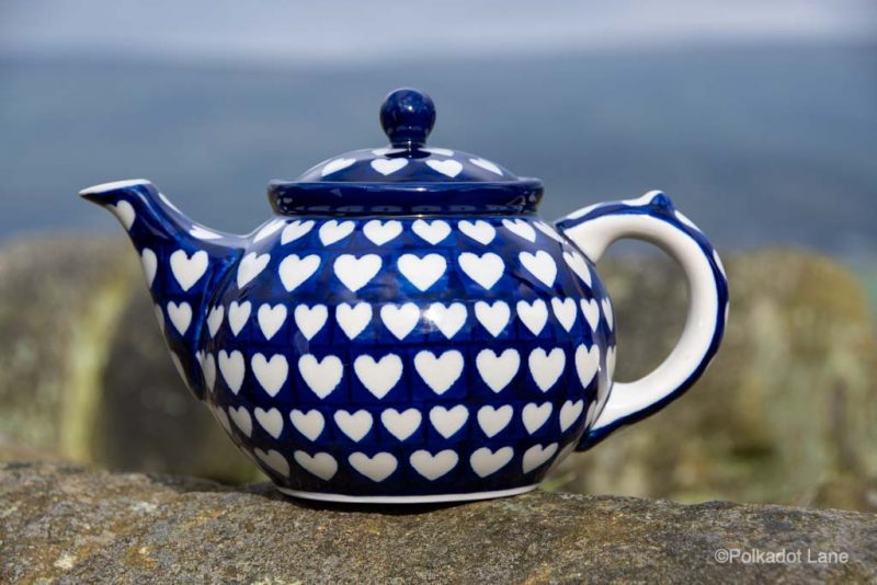 Polish Pottery Hearts Pattern Teapot for Four by Ceramika Artystyczna from Polkadot Lane UK