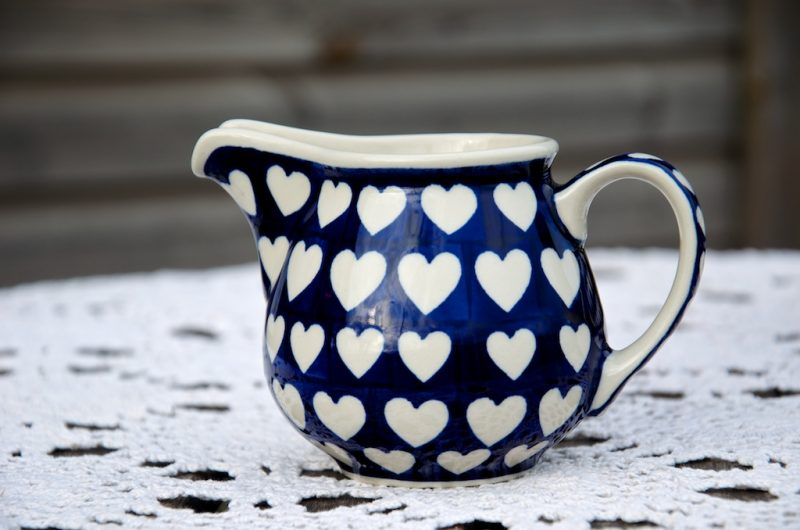 Polish Pottery Large Creamer Blue Hearts Design