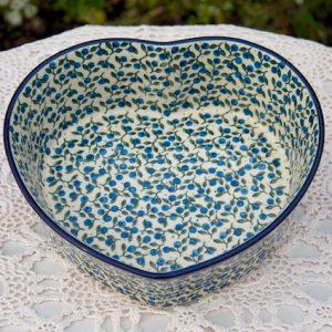 Polish Pottery Blueberry Leaf Large Heart Shaped Dish