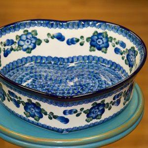 Polish Pottery Blue Flower Large Heart Shaped Dish