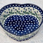 Polish Pottery Large Heart Shaped Dish Flower Spot