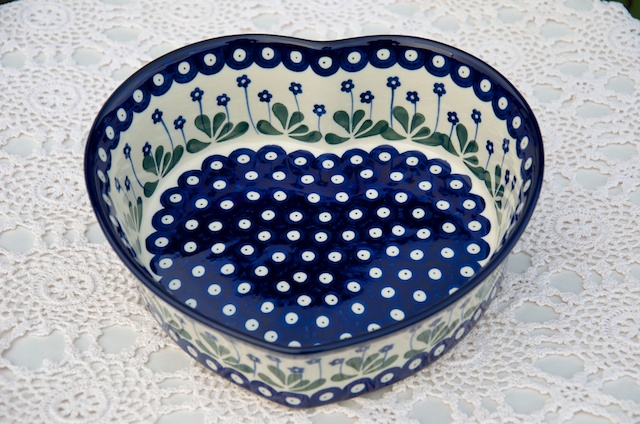 Polish Pottery Large Heart Shaped Dish Flower Spot