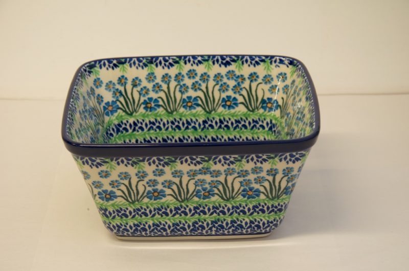 Polish Pottery Forget Me Not Large Square Bowl