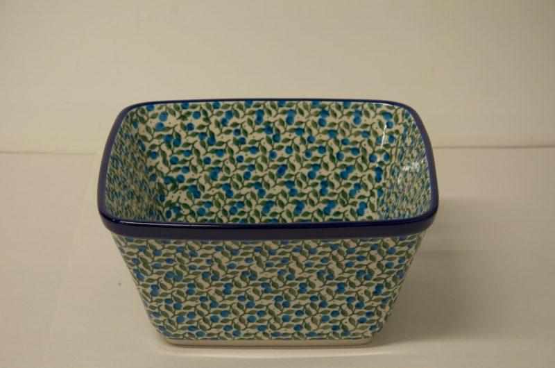 Polish Pottery Blueberry leaf Large Square Bowl